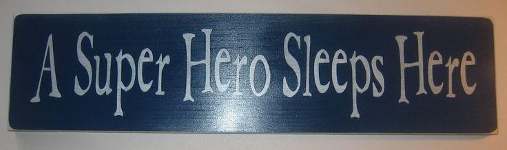 A Super Hero Sleeps Here, Childrens, Bedroom, Decor. $30.00, via Etsy.