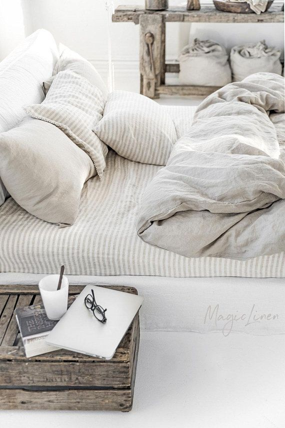 Linen Bedding Set In Natural Linen Oatmeal Color Duvet Etsy