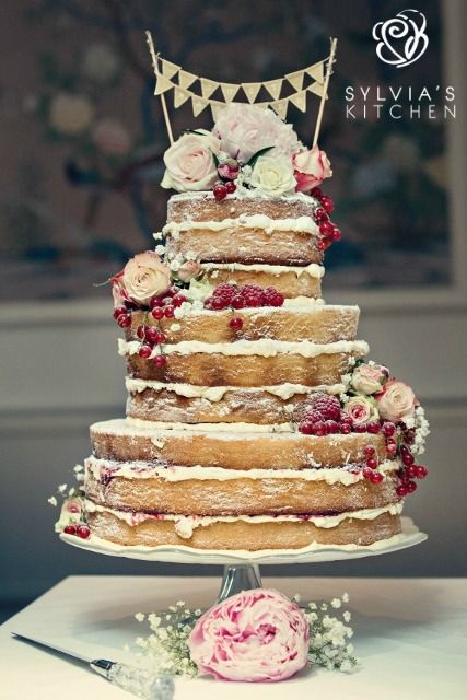 """www.sylviaskitchen.co.uk three tier """"naked"""" style wedding cake at The George in…"""