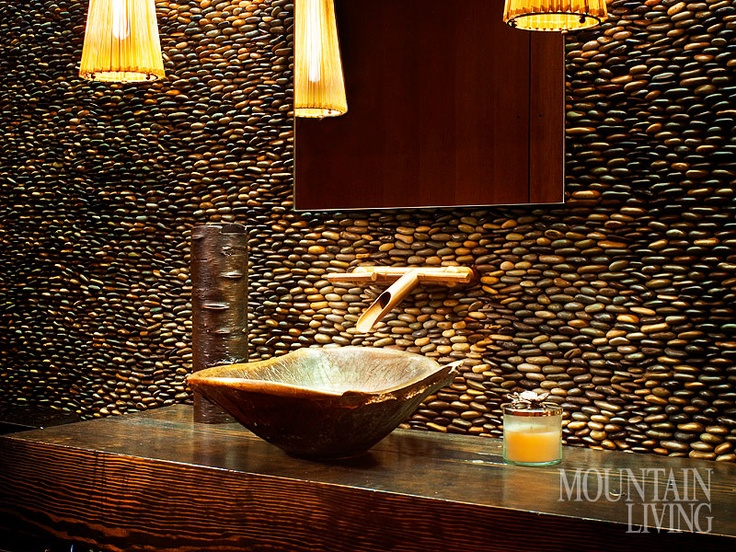 Picture Gallery Website Montana home mountain home pebble wall sink basin wood countertop bamboo