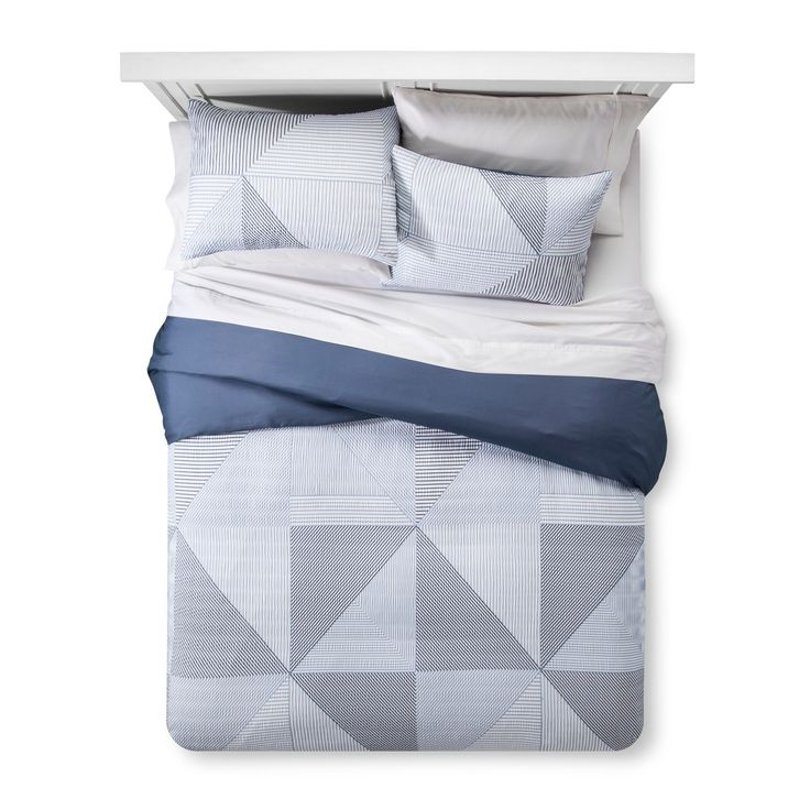 A puckered fabric meets linear lines in the Blue Texture Stripe Duvet Cover Set from Room Essentials. This duvet and sham set has restful blue colors with a comfy feel, perfect for snuggling into at night.