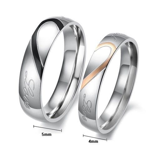 Matching Heart Couple Rings Stainless Steel His and Hers Wedding Bands