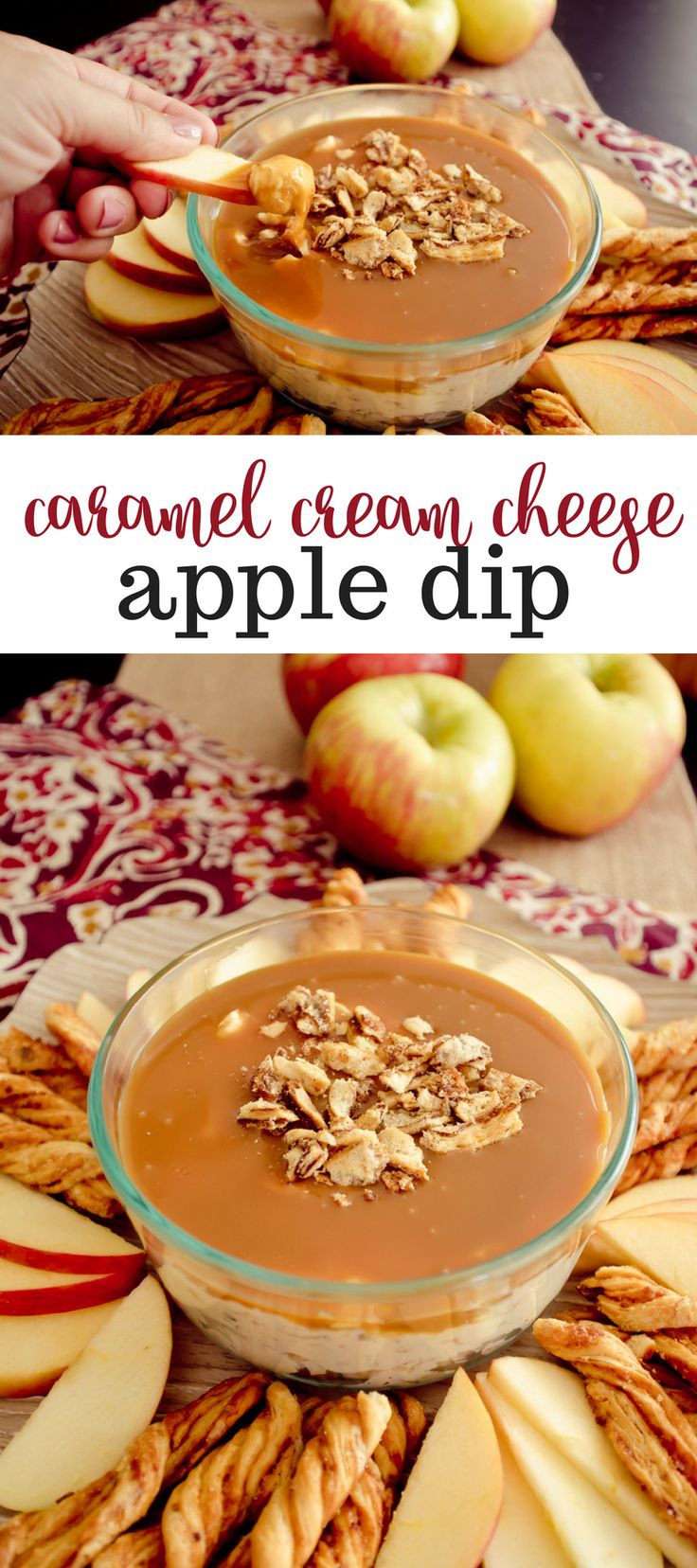This sweet, creamy, crunchy dip is the perfect little treat to go with crisp apple slices, or John Wm. Macy's SweetSticks. #MomBlogTourFF AD