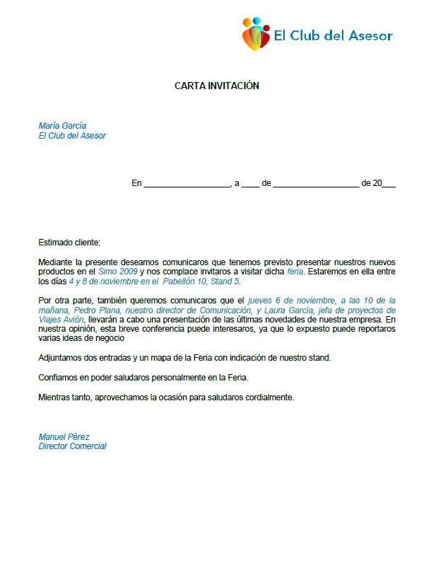 Modelo carta de invitación