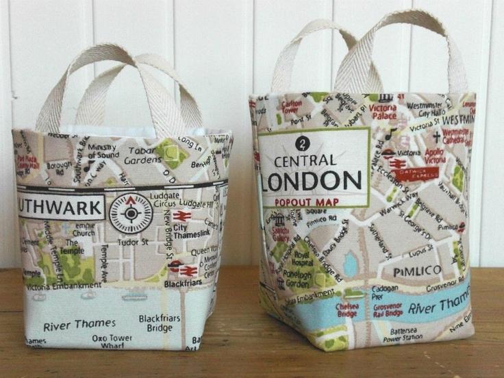 Fabric basket Organizer Bin - Storage bags - Set of two small tote bags - London map bag. €25.00, via Etsy.
