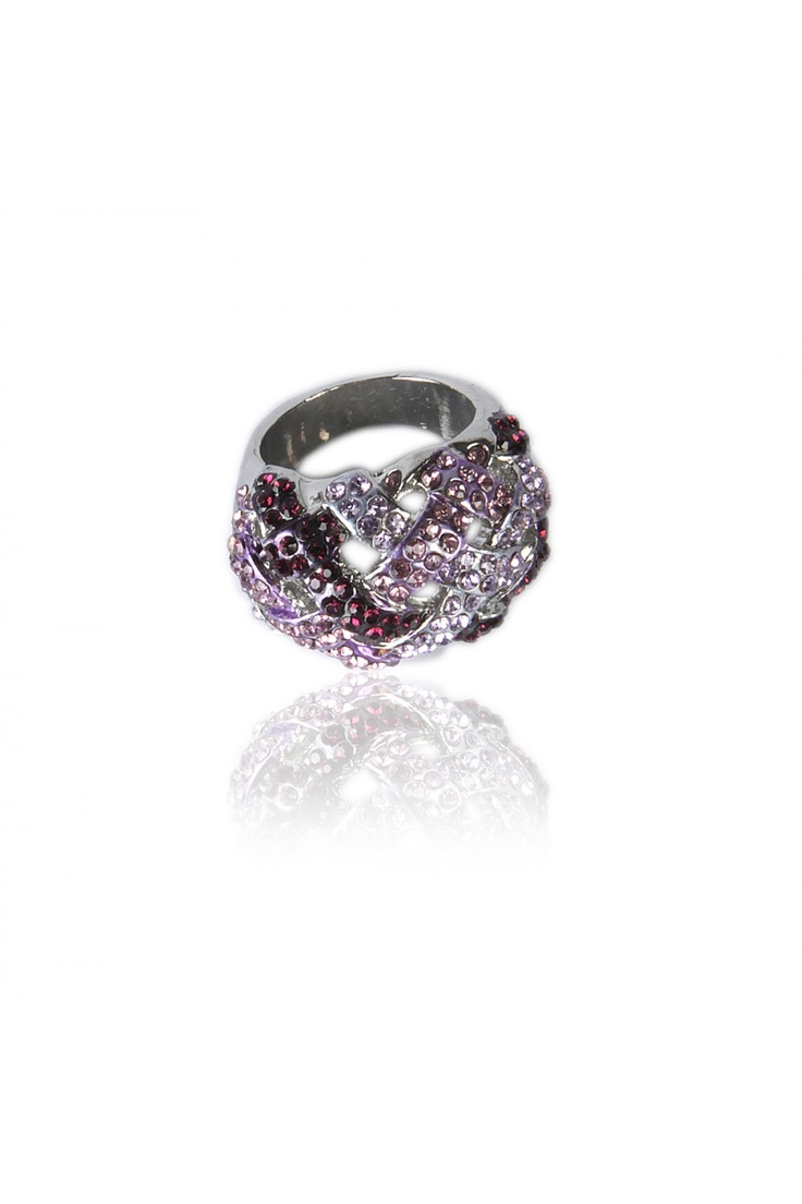 Purple Haze Dome Ring -    Dome Metal Weave Design, Shades of Purple Crystal Encrusted, Perfect For a Cocktail Event, And Nickel Finishing....... - Rs. 599.00