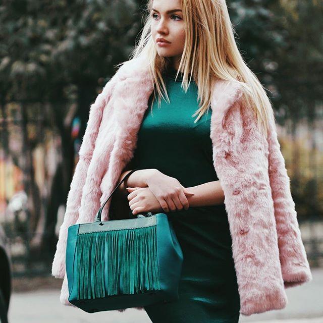 velvet dress + pink fur coat