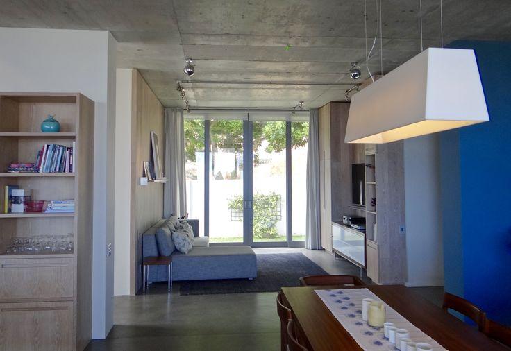 Custom light above open plan dining room.