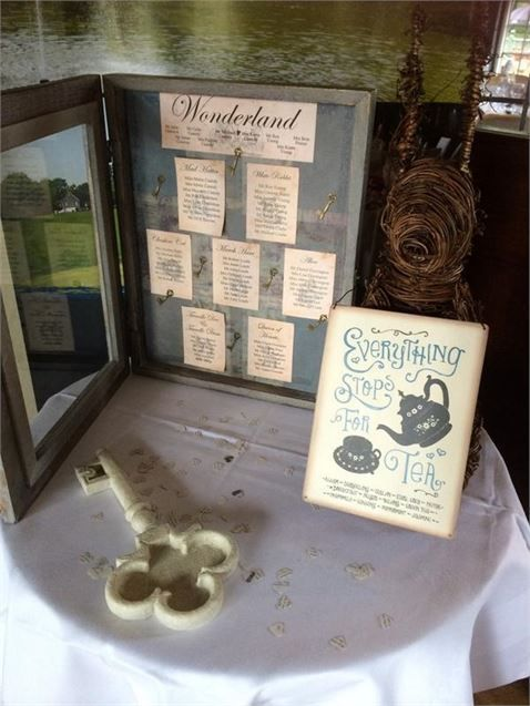 If you're filling your day with Alice in Wonderland inspired details, take a look at this whimsical table plan from a reception at the Maylands Golf Club