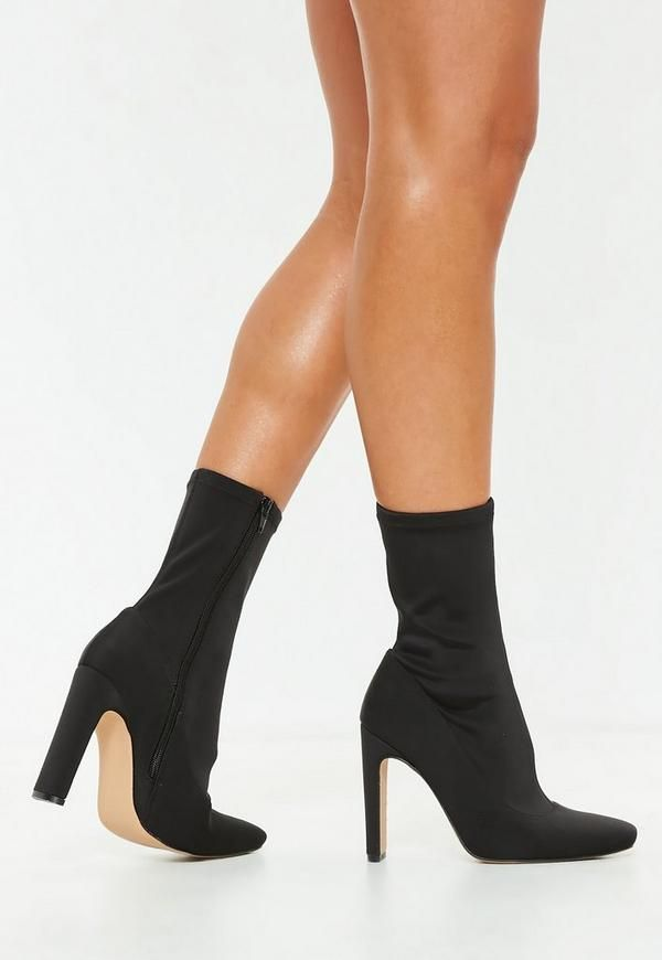 a9592b20133e Missguided Black Mid Heel Sock Boots