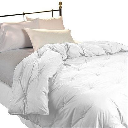 All white down comforter and white sheets.