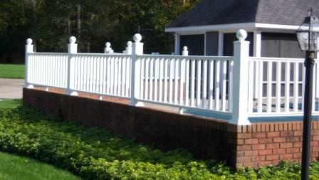 Vinyl Fence On Brick Wall Vinyl Fence In 2019 Fence
