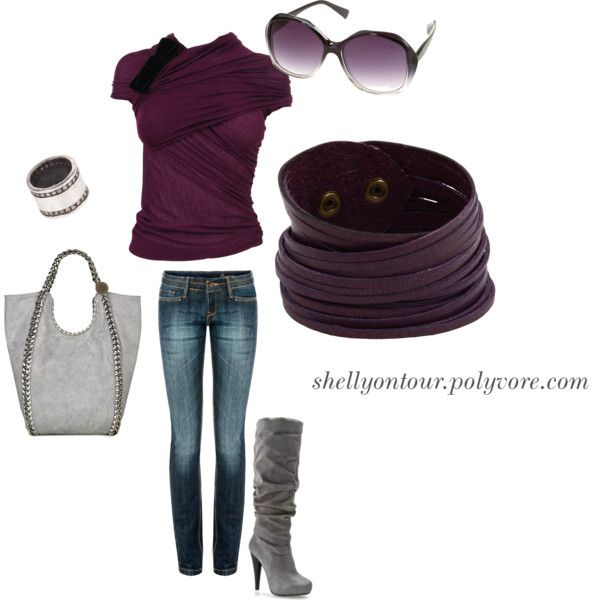 """""""Outfit"""" by shellyontour on Polyvore: Purple Shirts, Outfit Sets, Fashion Styles, Style Inspiration, Plum Color, Purple Outfits, Casual Outfits, My Style, Ideal Style"""