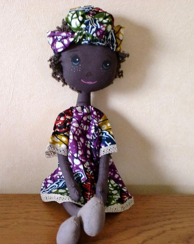 poupée de chiffon en tissu coton et pagne 38 cm,poupée Africaine,poupée en tissu : Jeux, jouets par artheisyl