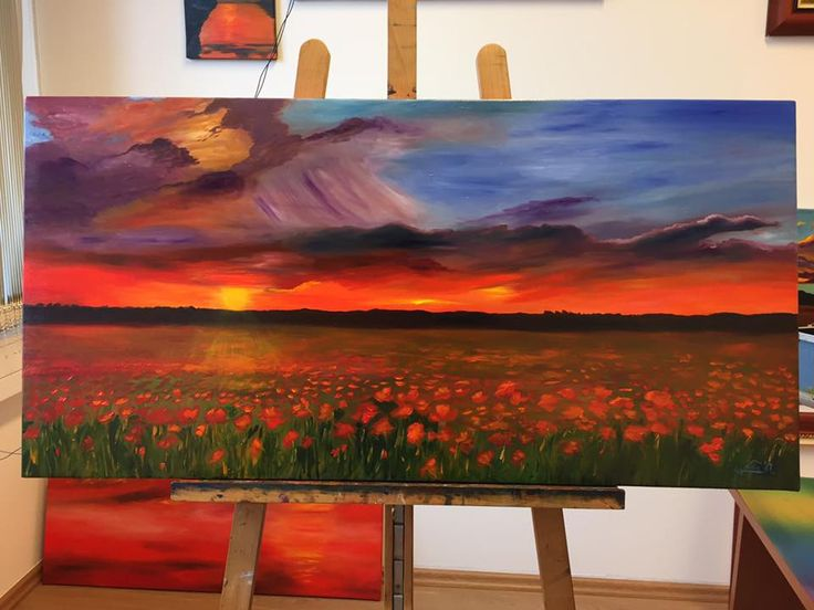 Lisa Elinor Paintress Poppies at sunset 50×100 oil-canvas Have a nice day! :-)