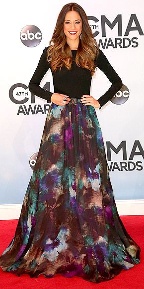 "Jana Kramer CMA's 2013. The watercolor skirt and black top is such a classic spin on the normal ""red carpet look."""