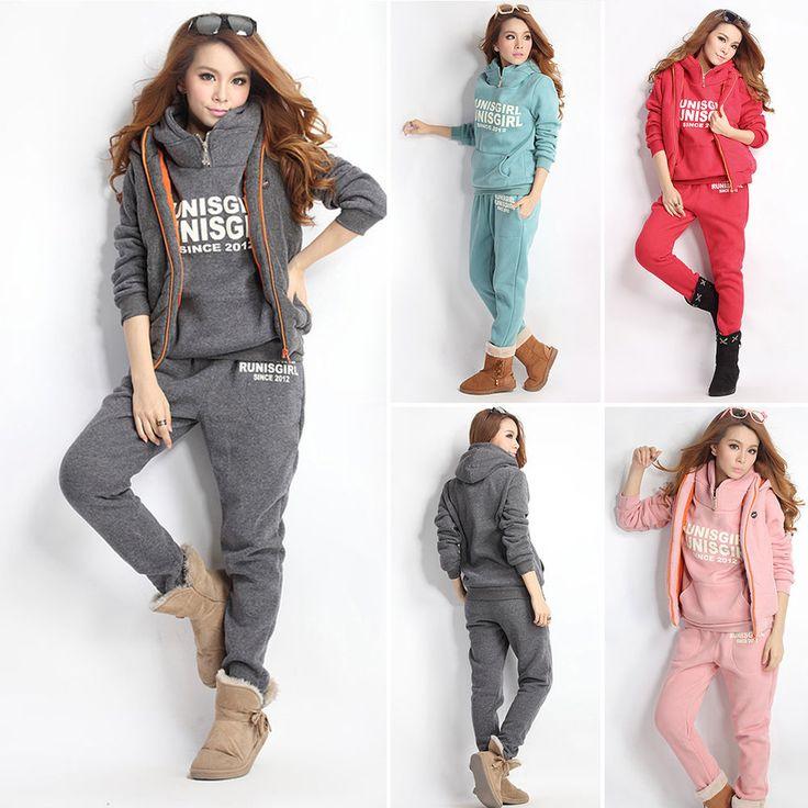 Casual XL L M Sports Hoodies Coat+Vest+Pants 3pcs Suit Tracksuit Womens Hooded