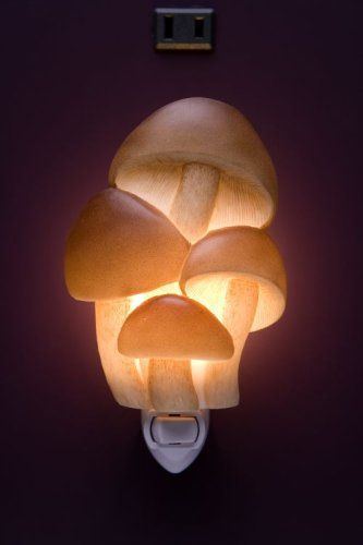 Realistic looking mushroom nightlight for the enchanted forest nursery