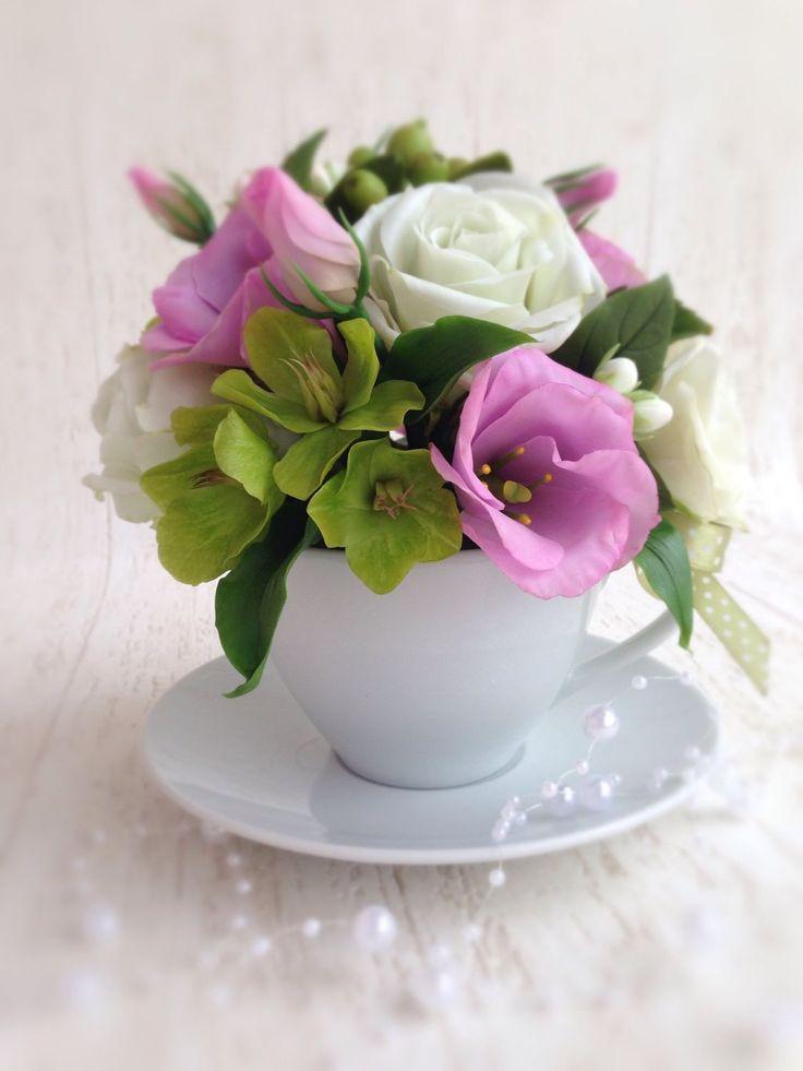 Купить Букет из холодного фарфора в чашке Розы и Эустома - букет в чашке, цветы из полимерной глины