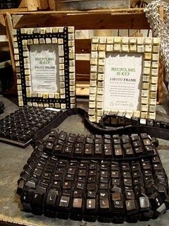 Recycled computer Board Key Photo frames and home decor by Two's Company.