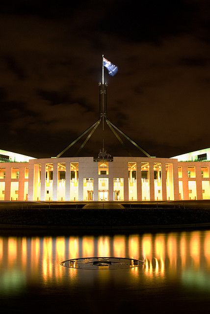 The beautiful Australian Parliament House, Canberra lit up at night