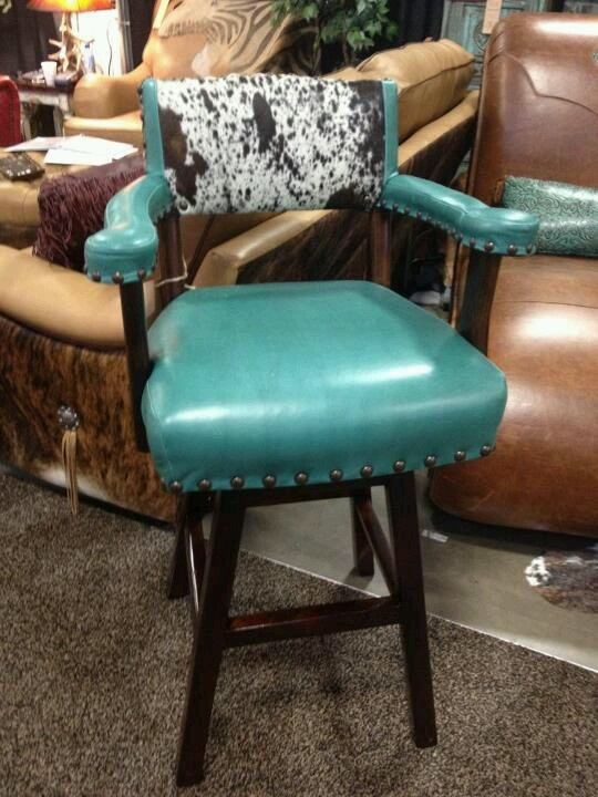 Bar Stool Turquoise Leather Hide Turquoise Pinterest