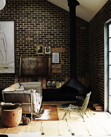 : Interior Design, Living Rooms, Idea, Interiors, Bricks, Brick Walls, House, Fireplace, Space