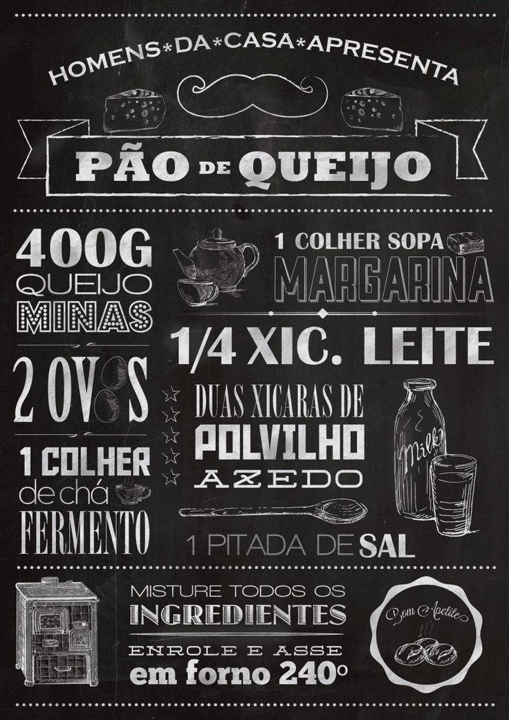 Pôster retrô com receita de pão de queijo e estilo quadro negro e giz do blog homens da casa - PARA A COZINHA (for the kitchen).