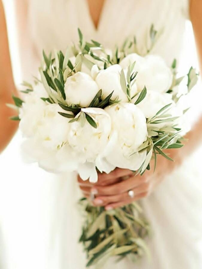 White peony bridal bouquet with olive leaves wedding