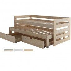 Cama compacta de 3 pisos + Cajones individuales - Dormitorio juvenil para tres