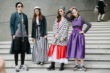 Love their creative wardrobe!  #authenticself Seoul Fashion Week Street Style . modern interpretations of hanbok st
