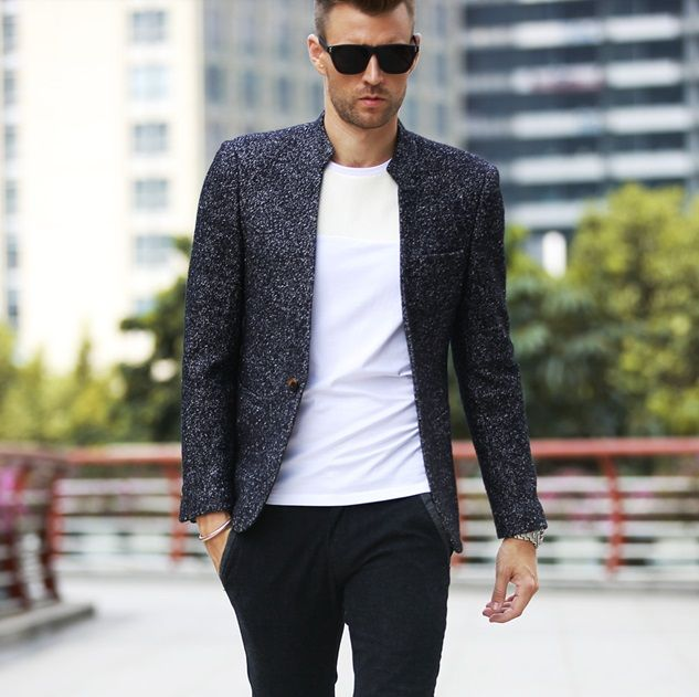 Stand collar woolen casual suit http://www.theprincefashion.com/blazer-and-suits.html