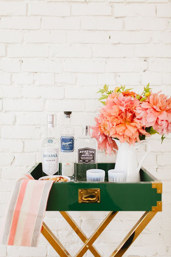 green bar cart with flowers | coco+kelley