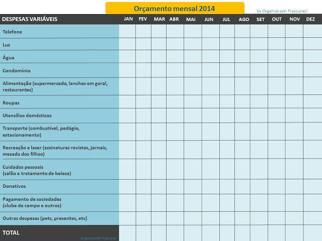 Organize sem Frescuras!: Planilha de gastos mensais para imprimir