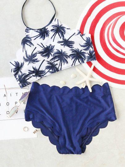 Blu Coconut Tree Stampa smerlato Trim Bikini