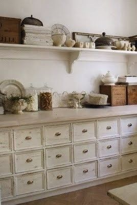 All the drawers in this are absolutely awesome! Love it!Cabinets, Kitchens Style, French Farmhouse, Open Shelves, Crafts Room, Laundry Rooms, Drawers, Kitchens Storage, Farms Kitchens