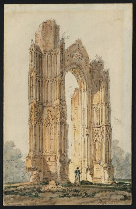 Thomas Girtin, 'Part of the Ruins of Walsingham Priory' c.1797 graphite and watercolour