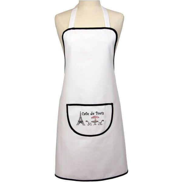 "White Full Size #Apron with Eiffel Tower, #Paris Cafe Scene and ""Cafe de Paris"" Text Embroidered on the Front Pocket. Black Edging around pocket and apron. One Size Fits All with Long Waist Ties  Material: 100% Cotton"
