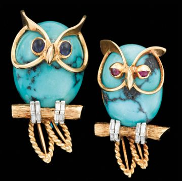 18k yg turquoise & diamond owl cufflinks, Cartier