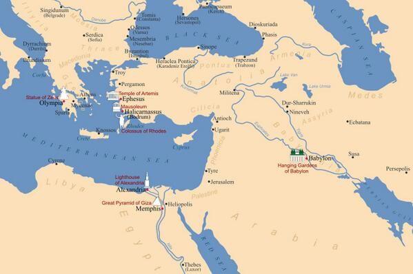 Localización de las Siete Maravillas del mundo antiguo en un mapa