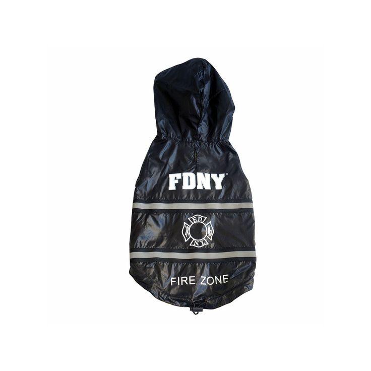 Royal Animals Fdny Fire Badge Dog Raincoat, Black