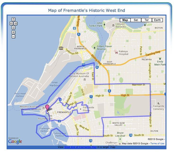 Fremantle's Historic West End Map - Boundaries of the Historic West End of Fremantle, Western Australia
