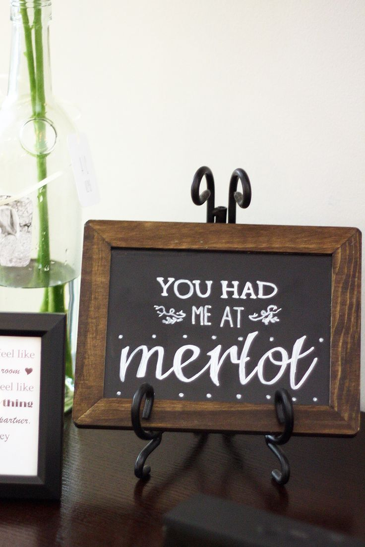"Wine-themed Bridal Shower Idea - adorable chalkboard sign that says ""You had me at merlot"" - perfect for any wine lovers! {@lessthanaverageheight}"