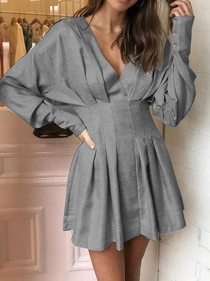 Shop Gray Cotton Blend V-neck Ruched Detail Batwing Sleeve Mini Dress at  victoriaswing 671b7907bfb2