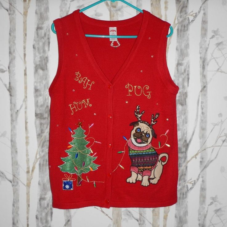 Holiday Time Womens Red Bah Hum Pug Dog Ugly Christmas Sweater Vest Size M 8-10 #HolidayTime #VestSleeveless #Christmas