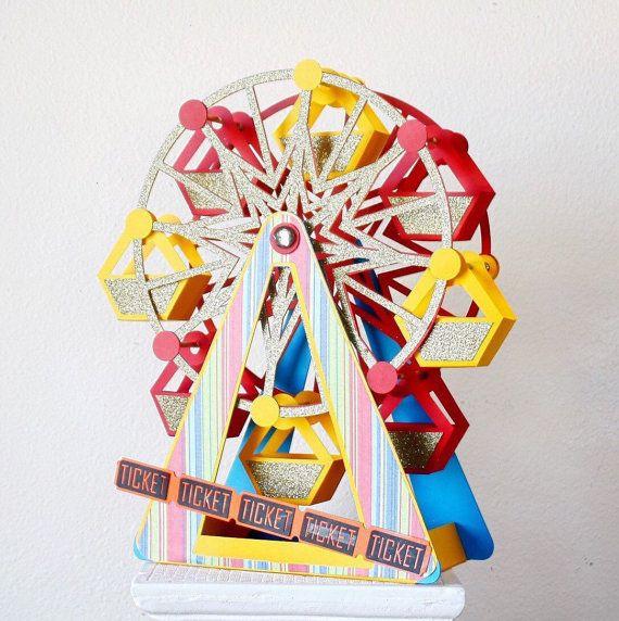 Carnival Centerpiece- REVOLVING Ferris Wheel - Party Centerpiece - Carnival Decorations - Circus Party - Centerpieces - Birthday Centerpiece