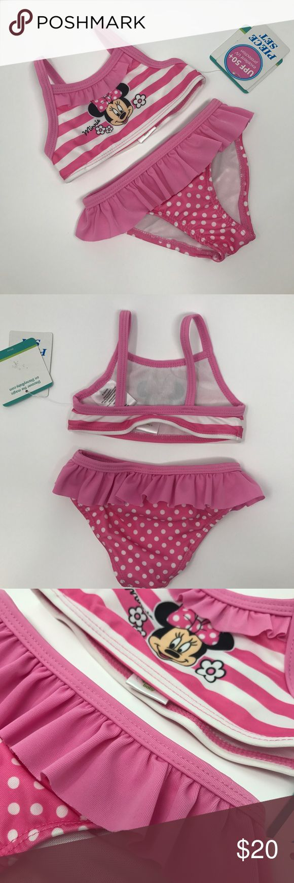 Disney baby two piece bathing suit Disney 2 piece baby bathing suit. Pink mini mouse baby bikini. Size 3/6 Months. Excellent UPF protection-50+. Adorable for a first time bathing suit! Disney Swim Bikinis