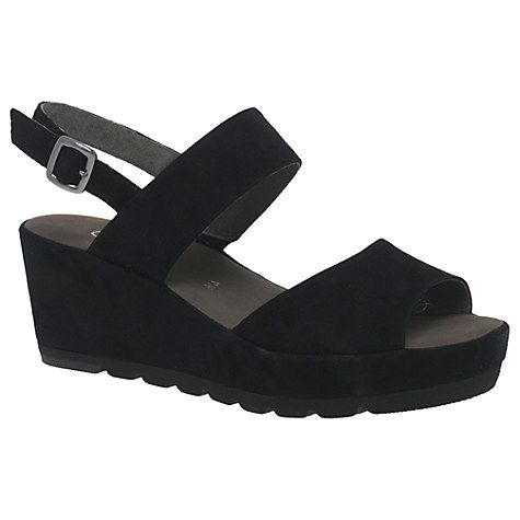 Buy Gabor Study Double Strap Wedge Heeled Sandals, Black Online at johnlewis.com