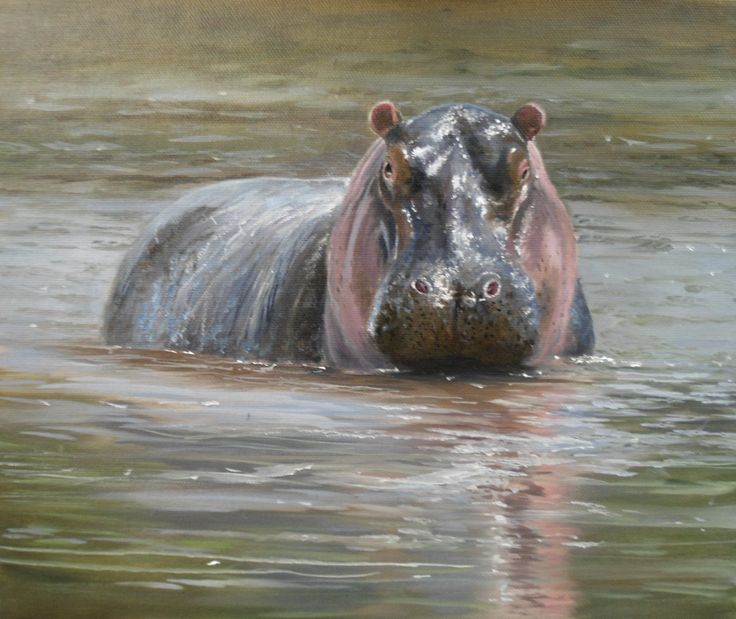 Oils instructional video lesson: Hippo by Pip McGarry at ArtTutor.com