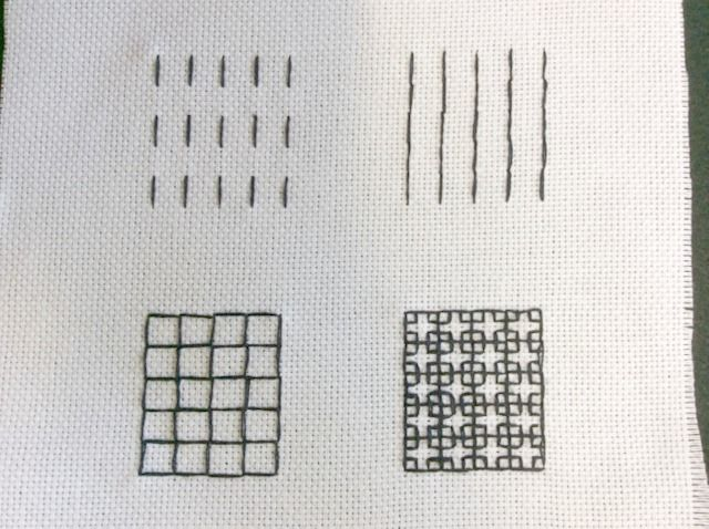 Doing running stitch in blackwork